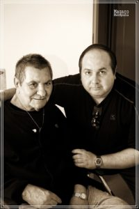 Con EL HEREJIA, 2 o 3 semanas antes de su muerte, en la clínica donde estaba internado.