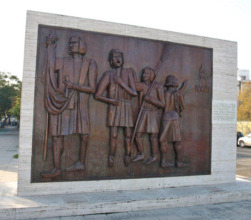 Colón y los marineros de Triana