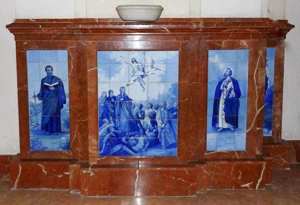 Pilar I. San Pablo, la Ascensión de Cristo y san Pedro. Fábrica de Viuda de Luis Gordillo.