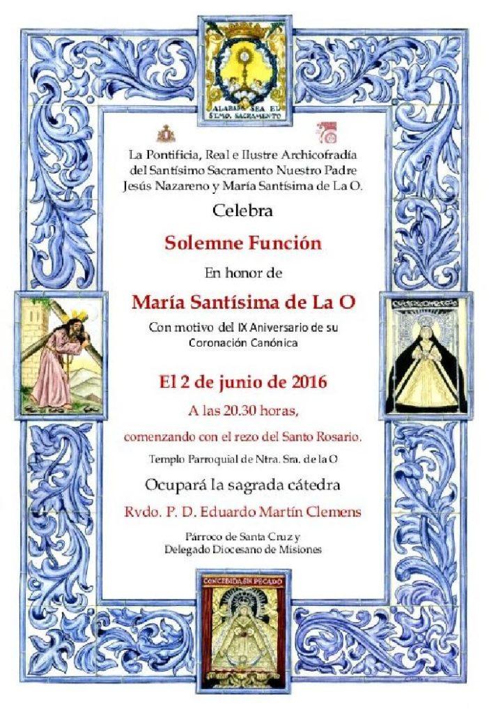 Solemne función María Stma de la O