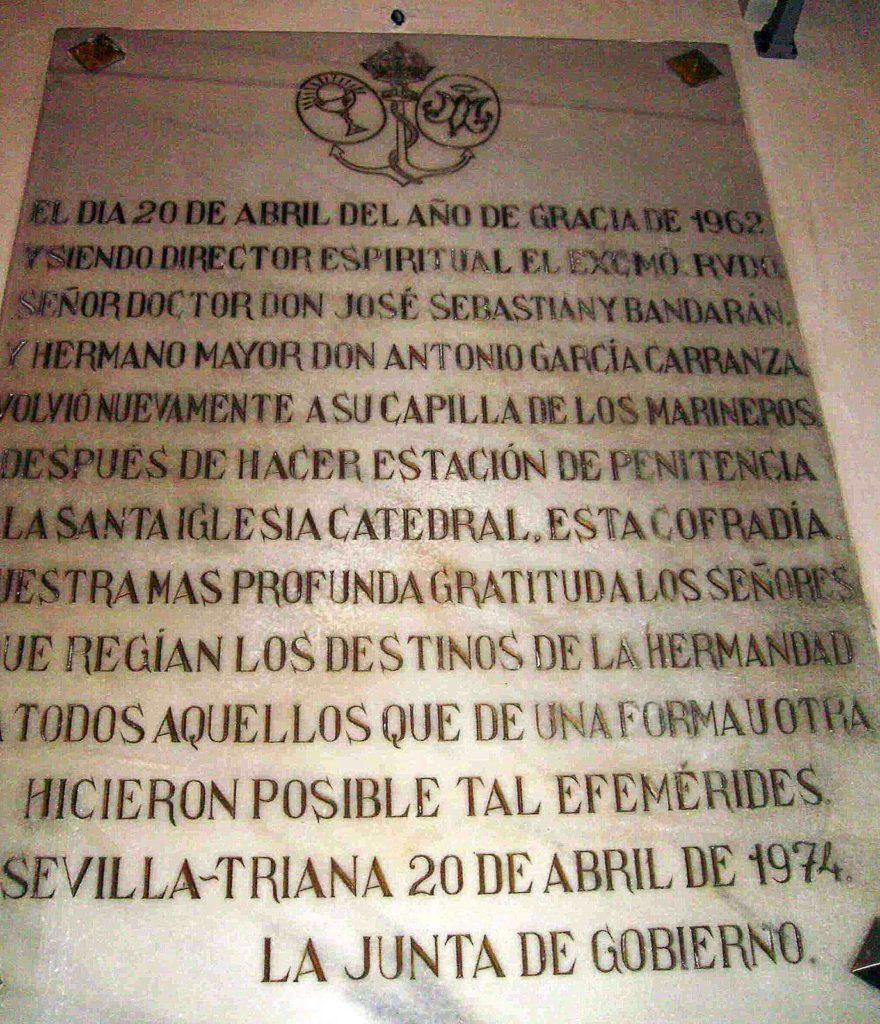 Lápida de don José Sebastián y Bandarán, Director Espiritual de la Corporación.