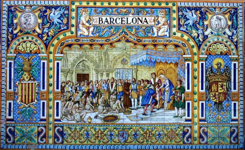 Cer mica de triana en la plaza de espa a barcelona el for Ceramicas burgos