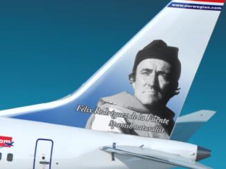 Foto cedida por Norwegian Airlines de cómo quedarán los timones de cola. EFE/Norwegian