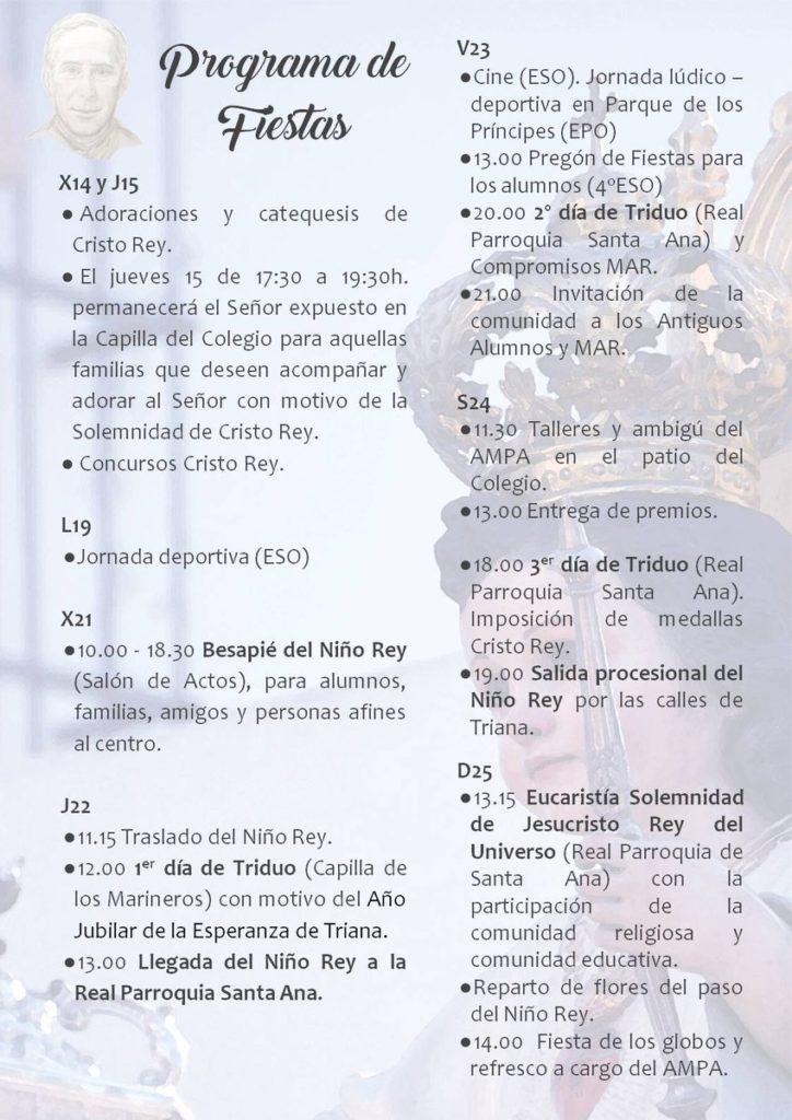 Programa actos y cultos Cristo Rey Triana